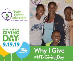 Why I Give | North Texas Giving Day 2019 | Single Parent Advocate