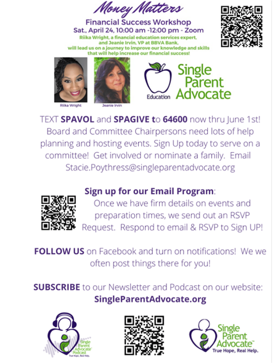 Attend Money Matters Virtual Workshop and get connected to Single Parent Advocate